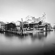 Gondola Repairing Yard from Fondamenta Nani, Venice 2011 - black and white photography