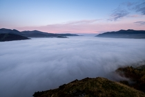 Derwentwater covered by Fog - landscape photography