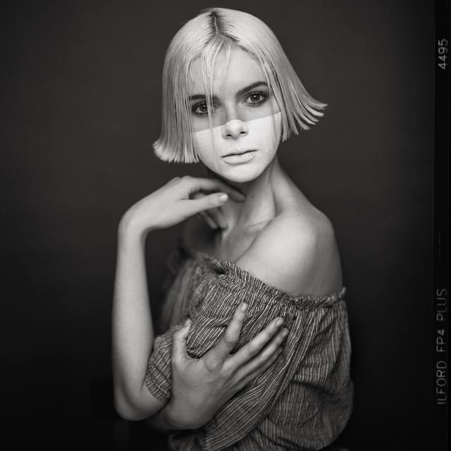 Portrait Photograph-Face Mask-Ilford FP4+ - Studio Portrait Photography